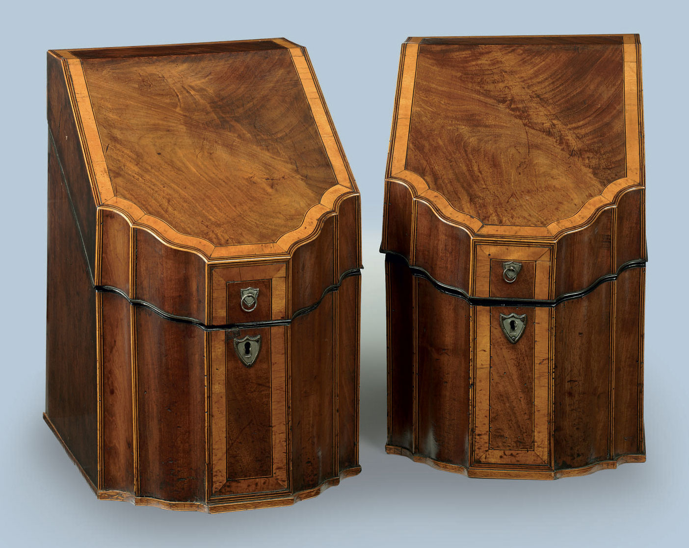 A PAIR OF GEORGE III MAHOGANY AND INLAID-SATINWOOD CUTLERY BOXES