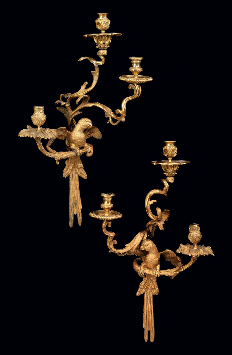 A PAIR OF FRENCH ORMOLU THREE-BRANCH WALL-LIGHTS