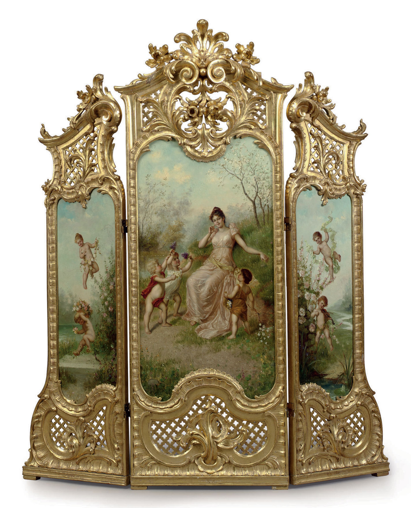 A FRENCH GILTWOOD AND PAINTED THREE-PANEL SCREEN