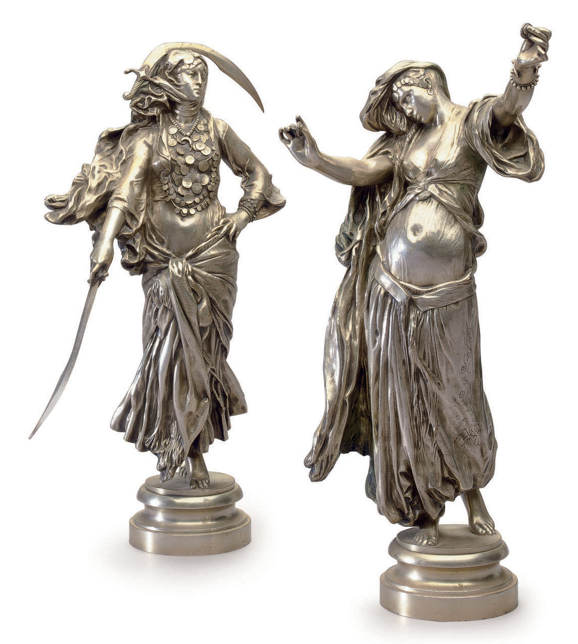 A PAIR OF FRENCH SILVERED-BRONZE ORIENTALIST FIGURES ENTITLED 'L'ALMEE' AND 'DANSE DU SABRE'