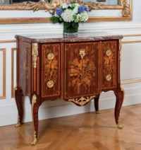 A LATE LOUIS XV BOIS SATINE, TULIPWOOD, AMARANTH AND MARQUETRY COMMODE