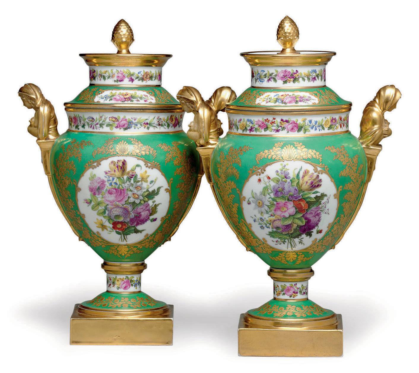 A PAIR OF PARIS PORCELAIN (FEUILLET) GREEN-GROUND ICE-PAILS AND COVERS