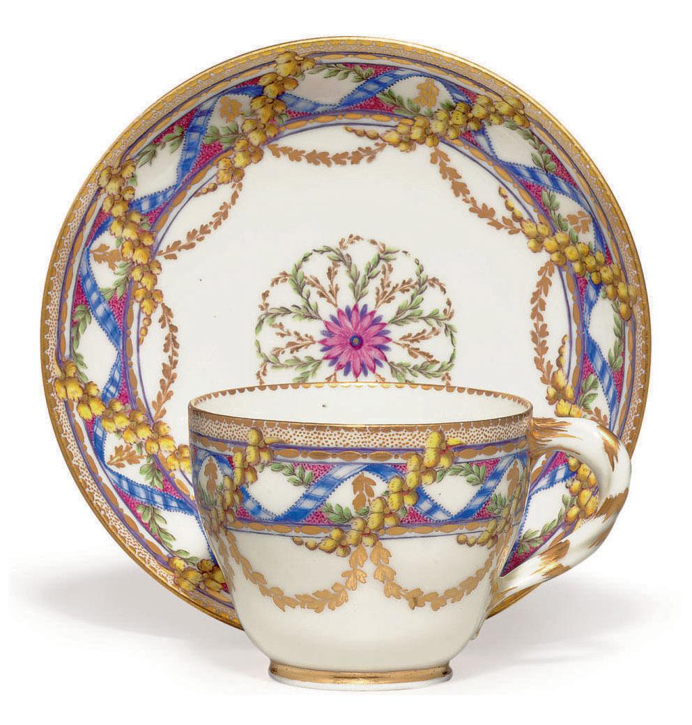 A SEVRES PORCELAIN CUP AND SAUCER (GOBELET 'HERBERT' ET SOUCOUPE, 2EME GRANDEUR)