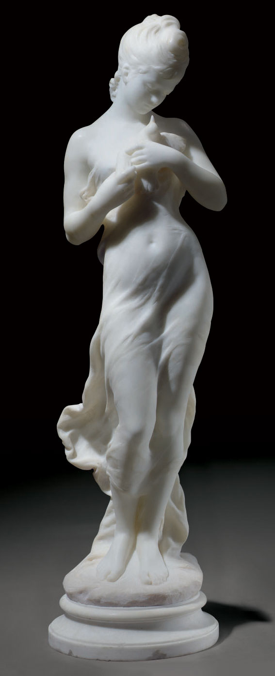 A FRENCH WHITE MARBLE FIGURE OF A MAIDEN AND BIRD