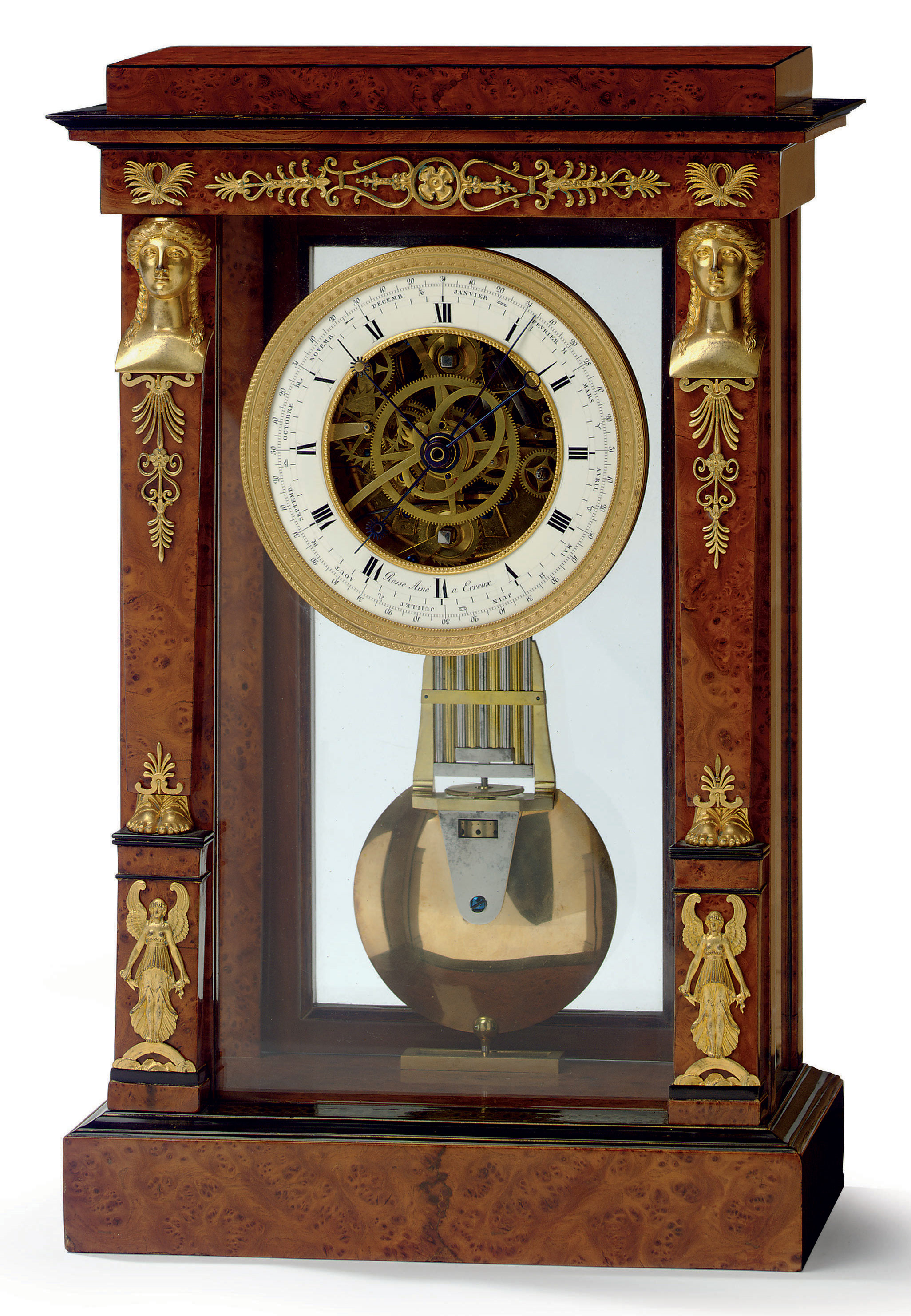 A RESTAURATION ORMOLU-MOUNTED AND PART-EBONIZED AMBOYNA STRIKING MANTEL REGULATOR WITH EQUATION OF TIME, CENTRE SECONDS, YEAR CALENDAR AND REMONTOIRE: 'REGULATEUR DE CHEMINEE'