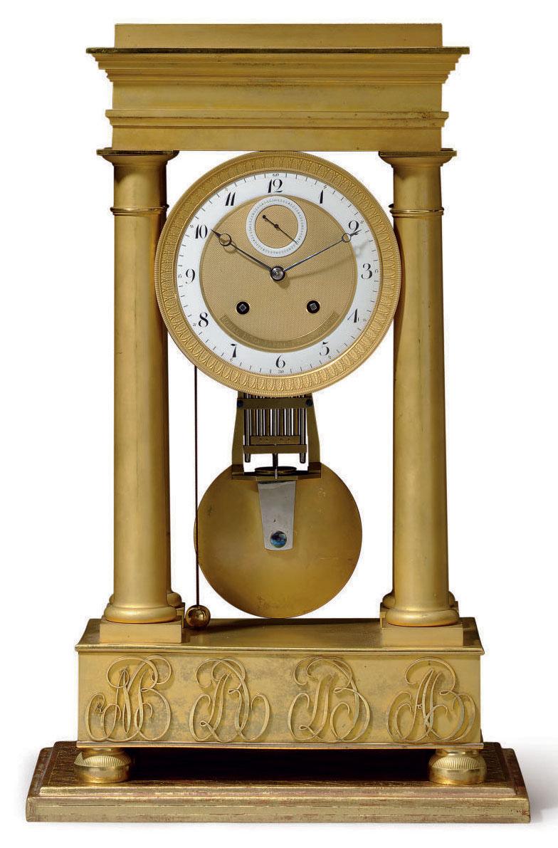 AN EMPIRE ORMOLU PETITE SONNERIE PORTICO MANTEL CLOCK: 'PENDULE PORTIQUE'