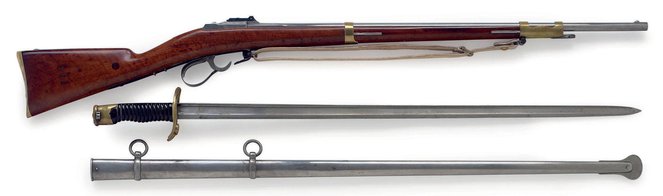 A RARE FRENCH MODEL 1854 PINFIRE FUSIL LANCE DE CENT-GARDES WITH SCARCE SWORD-BAYONET