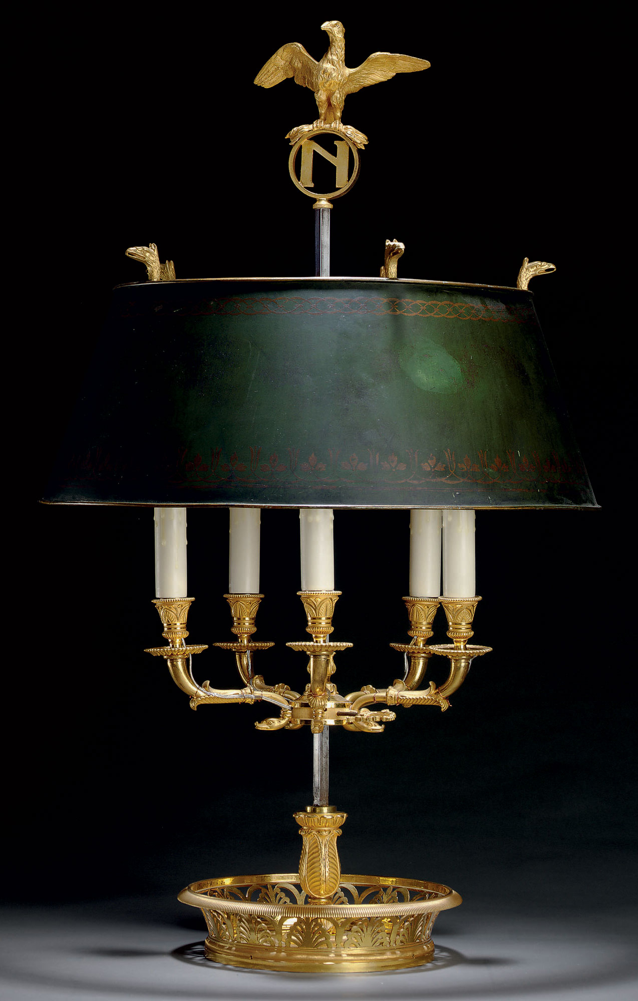 AN EMPIRE ORMOLU BOUILLOTTE LAMP