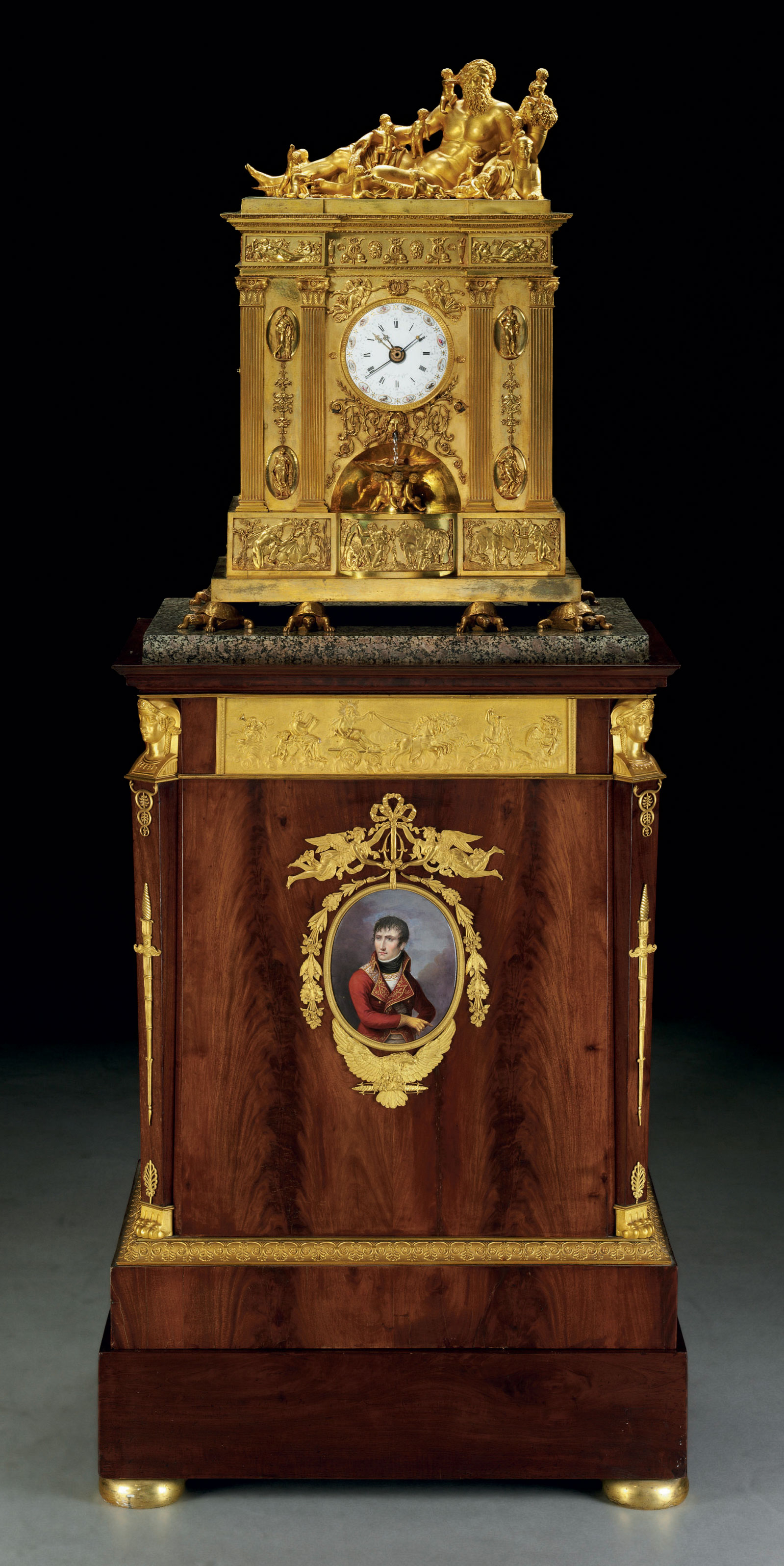 A CONSULAT LARGE ORMOLU QUARTER-STRIKING AND AUTOMATON PEDESTAL CLOCK WITH ANNUAL CALENDAR AND EQUATION OF TIME, ON AN ORMOLU AND PORCELAIN-MOUNTED MAHOGANY PEDESTAL INCORPORATING AN ORGAN