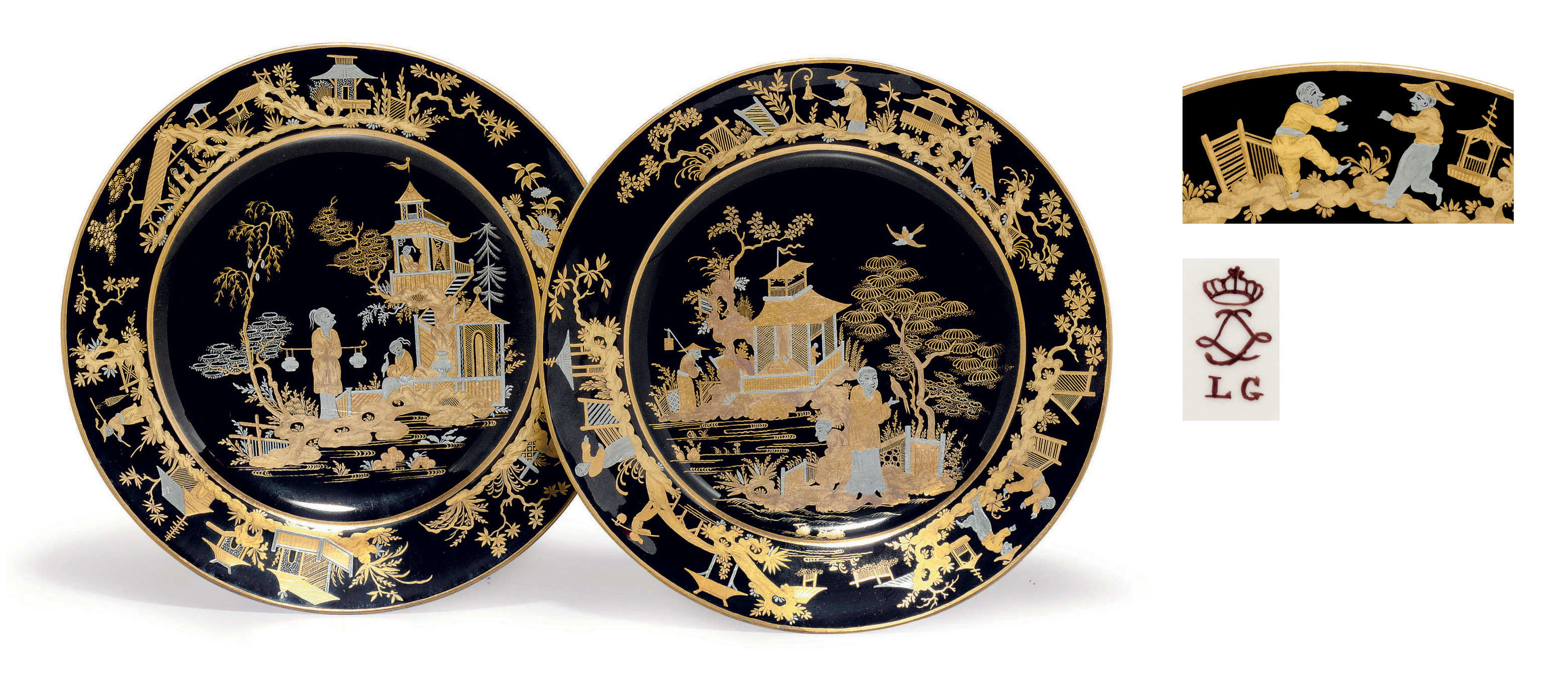 A PAIR OF SEVRES (HARD PASTE) PORCELAIN BLACK-GROUND GILT AND PLATINUM CHINOISERIE PLATES