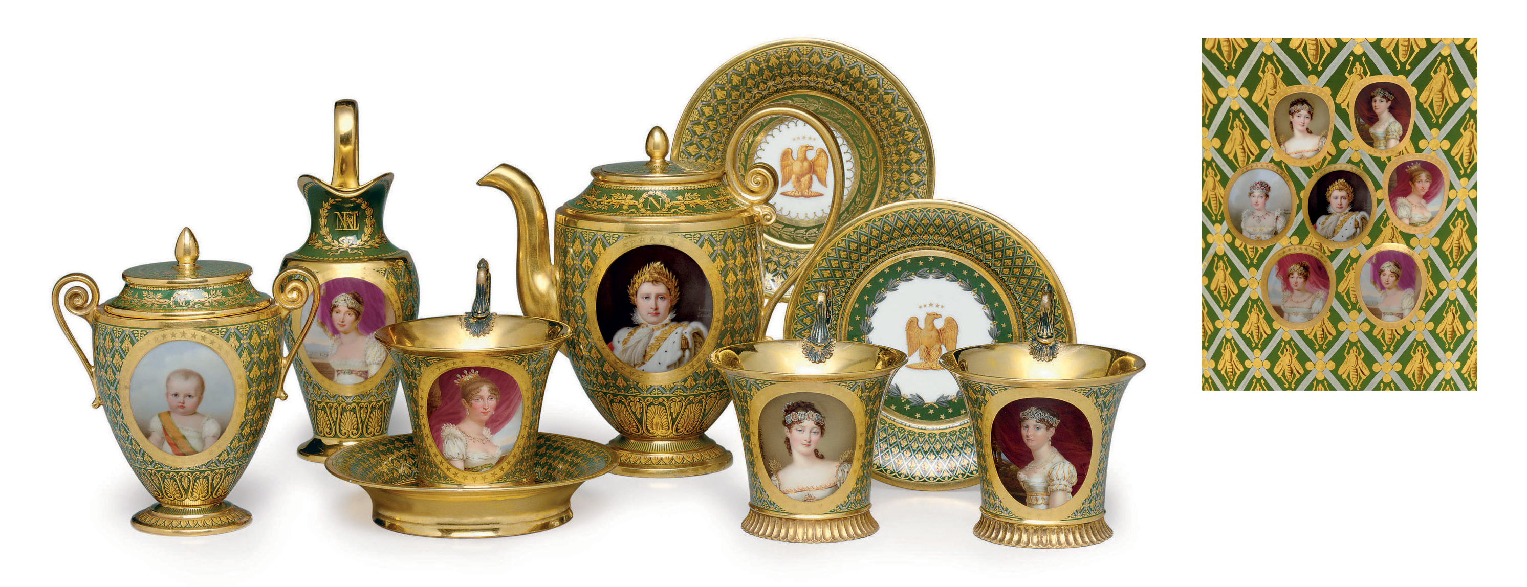 A SEVRES (HARD-PASTE) PORCELAIN CHROME-GREEN GROUND PART TEA SERVICE (CABARET 'BONAPARTE')