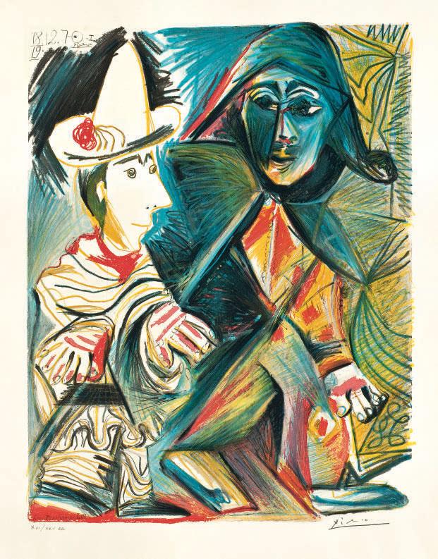 AFTER PABLO PICASSO   Pierrot et Arlequin   1950s, Prints ...