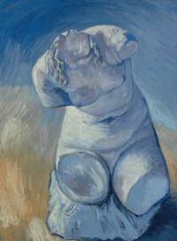 Statuette de plâtre: Torse de femme, vue de face