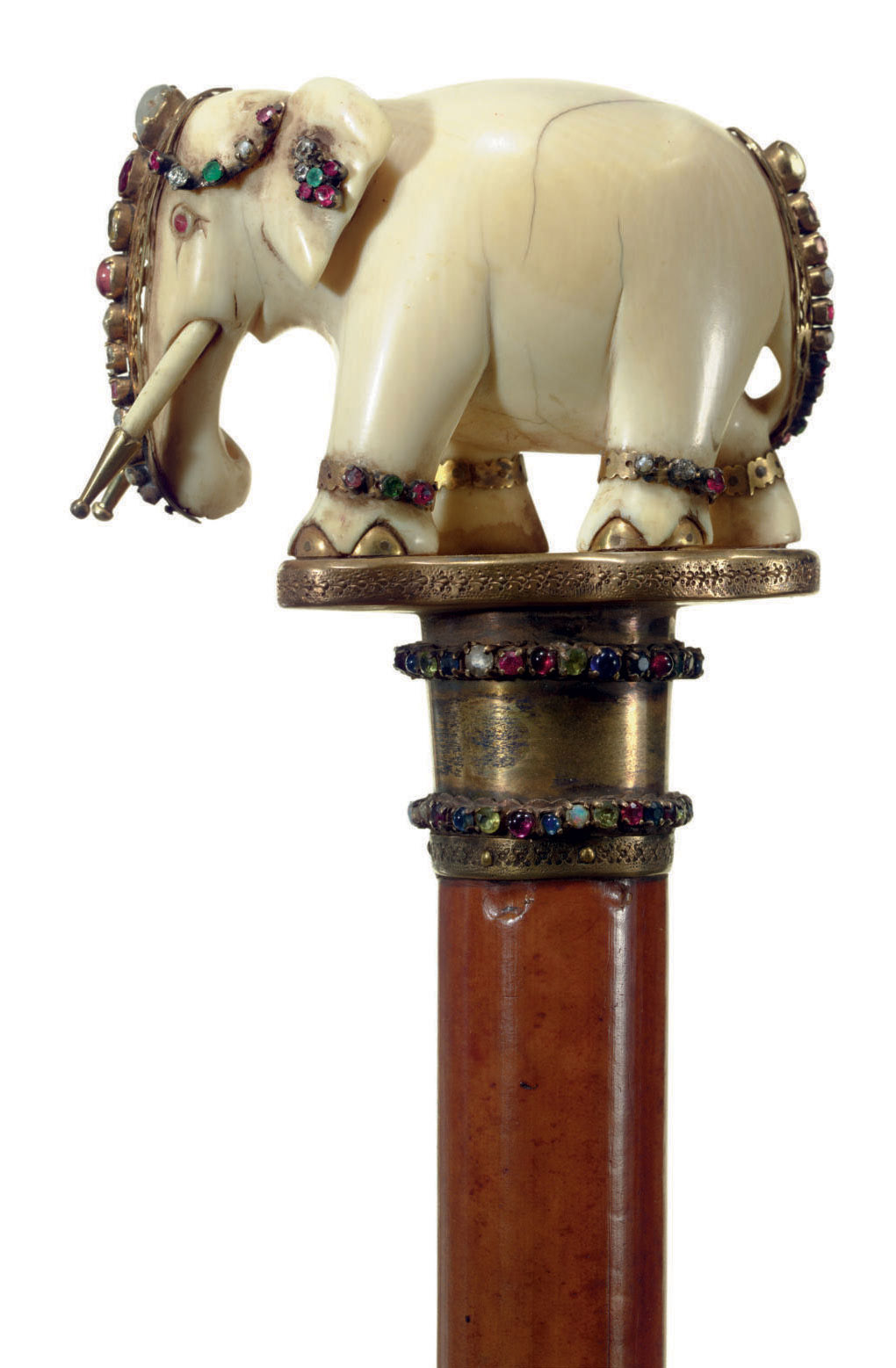 AN INDIAN JEWELED AND IVORY CA