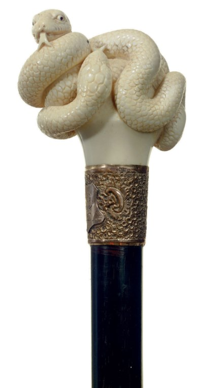 A VICTORIAN IVORY-MOUNTED CANE