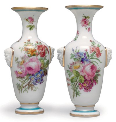 A PAIR OF BACCARAT WHITE OPALI