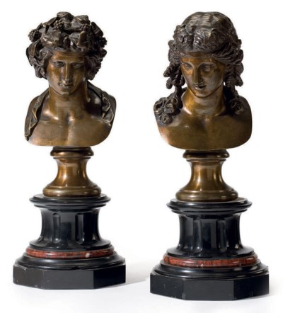 A PAIR OF BRONZE BUSTS OF BACC
