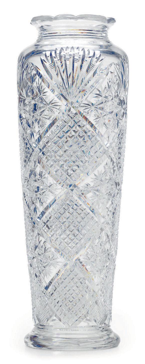 A LARGE BACCARAT CUT-GLASS VAS