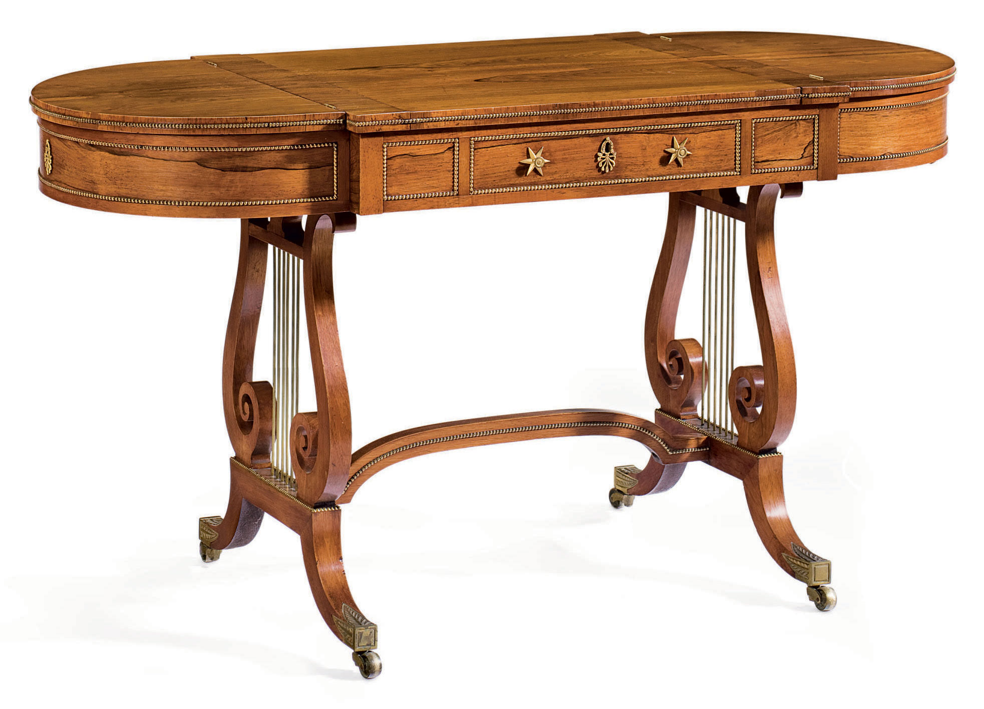 A REGENCY BRASS-MOUNTED ROSEWOOD GAMES TABLE