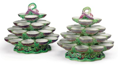 A PAIR OF MINTON MAJOLICA FOUR