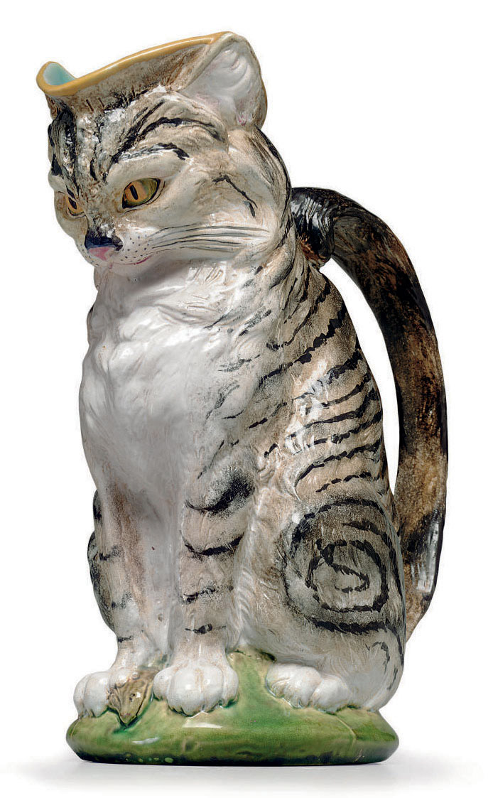A MINTON MAJOLICA CAT AND MOUS