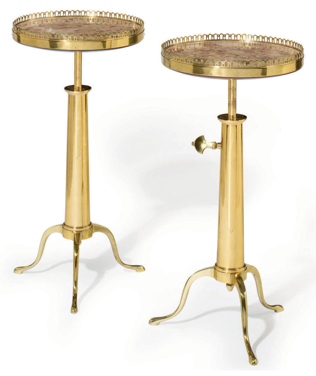 A PAIR OF FRENCH BRASS AND MAR