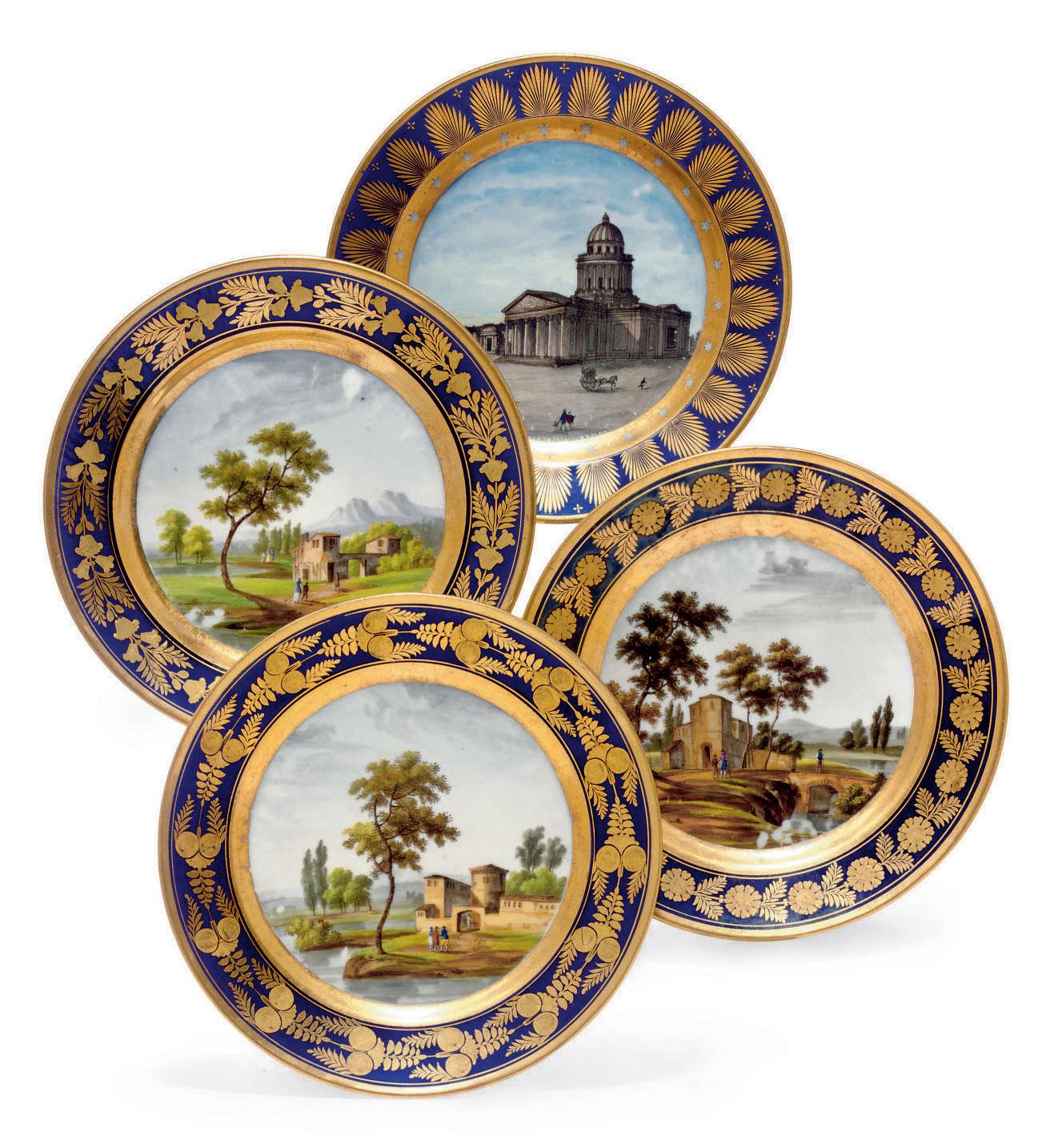A HARLEQUIN SET OF THREE PARIS (DARTE FRERES) PORCELAIN COBALT-BLUE GROUND CABINET PLATES AND A LOCRE PORCELAIN BLUE-GROUND TOPOGRAPHICAL PLATE