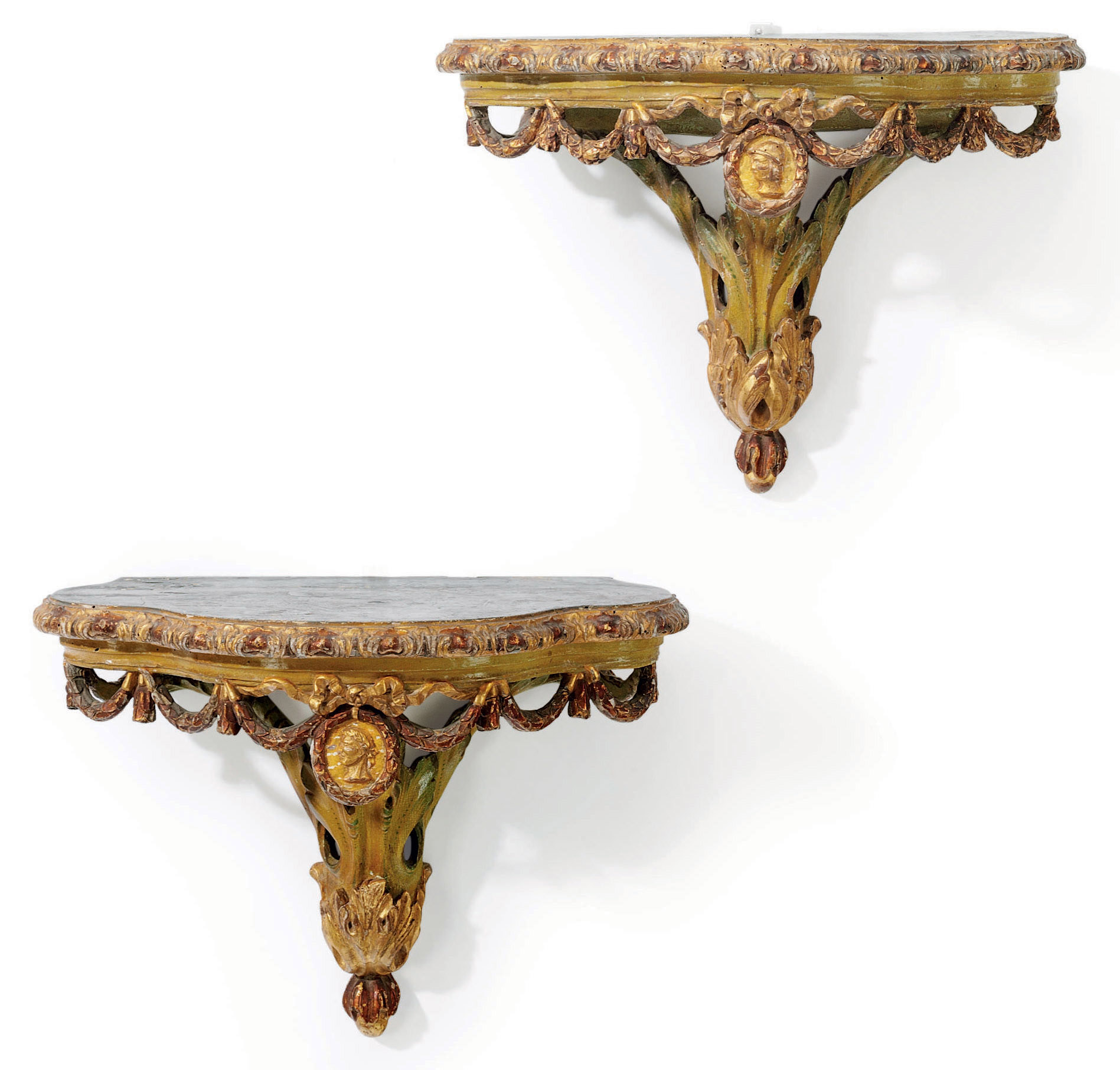 A PAIR OF ITALIAN GREEN-LACQUE