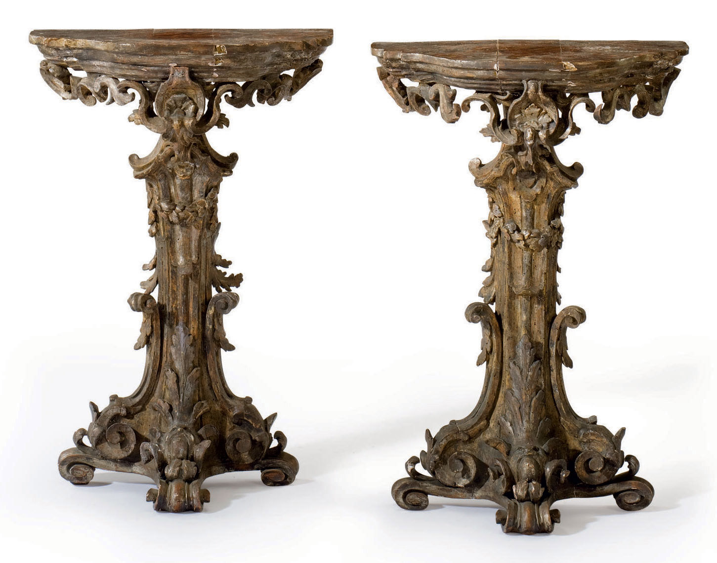 A PAIR OF ITALIAN SILVERED CON