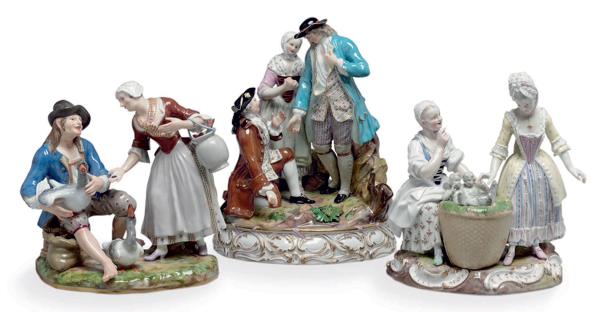 THREE MEISSEN PORCELAIN FIGURE