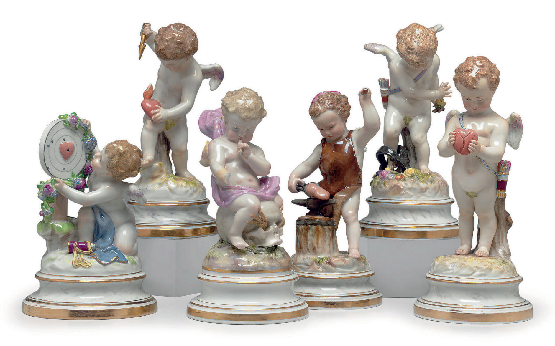 SIX MEISSEN PORCELAIN MODELS O