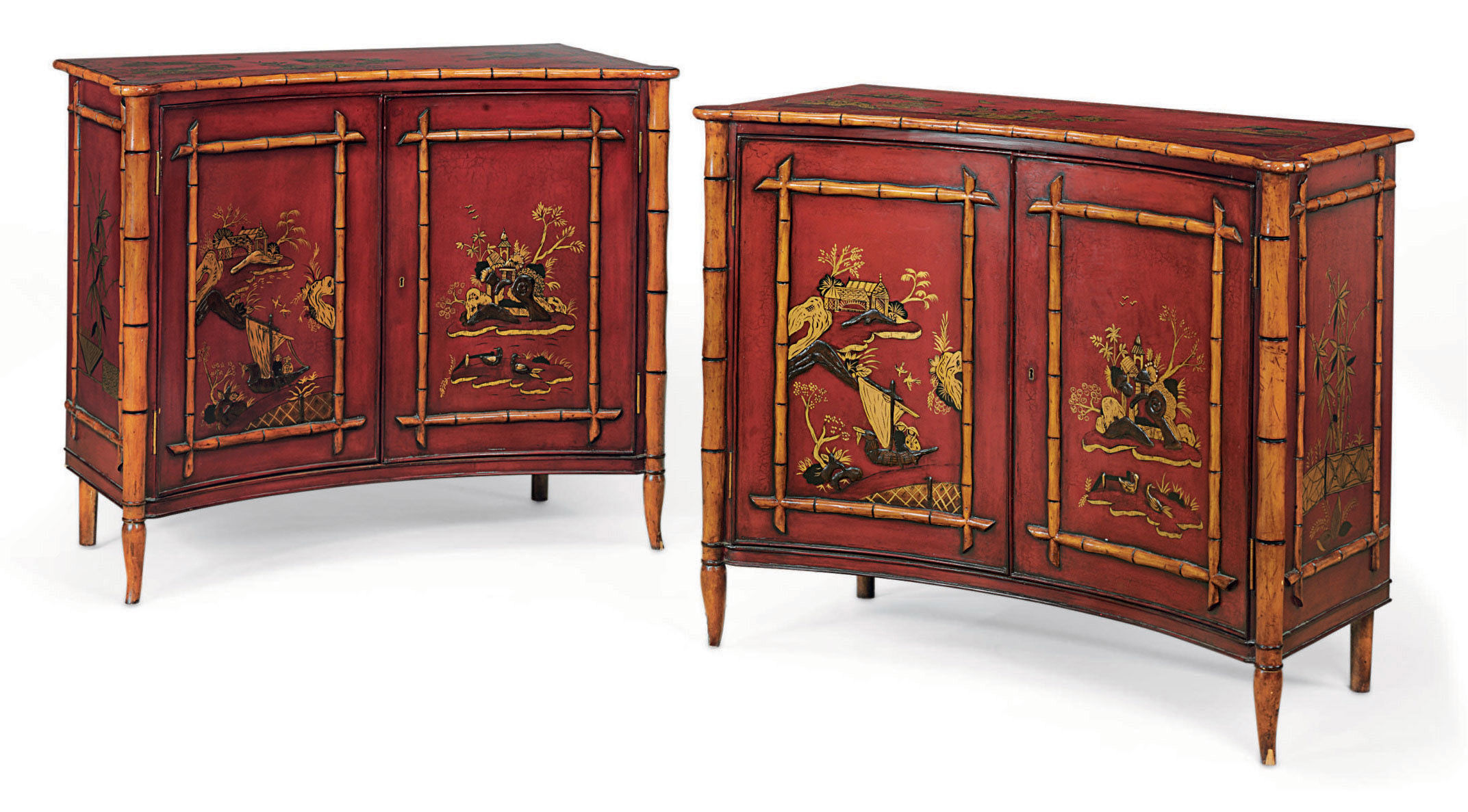 A PAIR OF RED, BLACK AND GILT-
