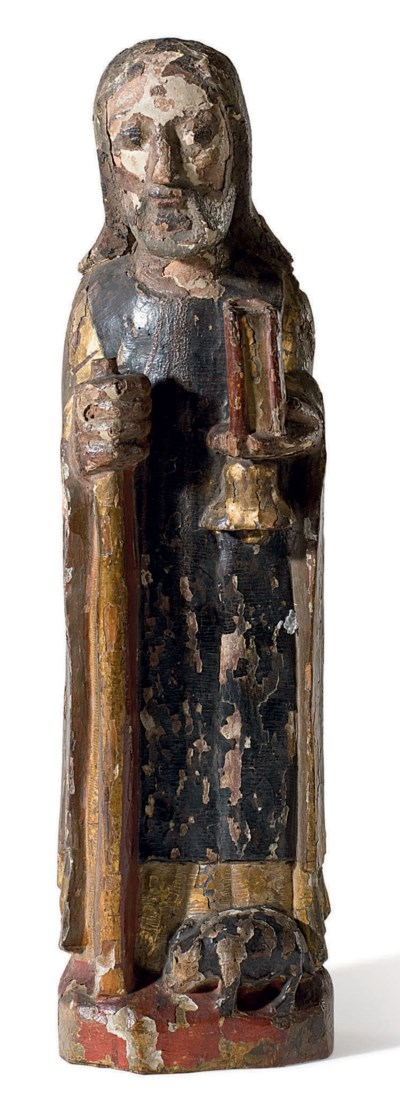 A CARVED POLYCHROME AND GILTWO