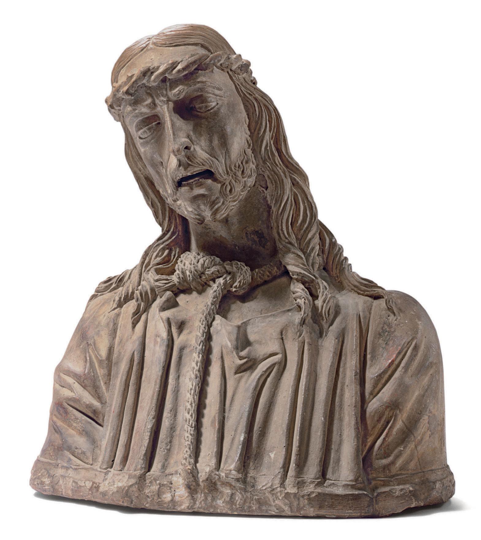A TERRACOTTA BUST OF CHRIST AS
