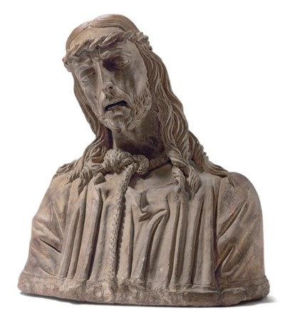 A TERRACOTTA BUST OF CHRIST AS