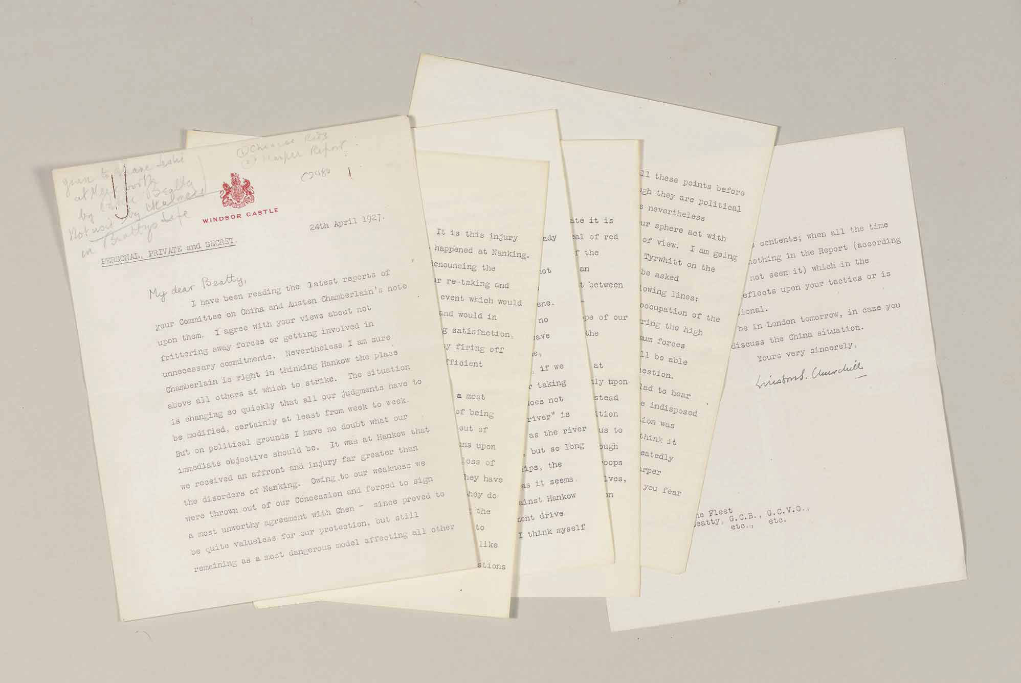 """CHURCHILL, Winston S. Typed letter signed (""""Winston S. Churchill""""), to Admiral Beatty, Windsor Castle, 24 April 1927. 6 pages, 4to, Windsor Castle stationery, paper clip burn and pencil notations in top left corner (by a later, unknown hand). Marked """"Personal, Private and Secret."""""""