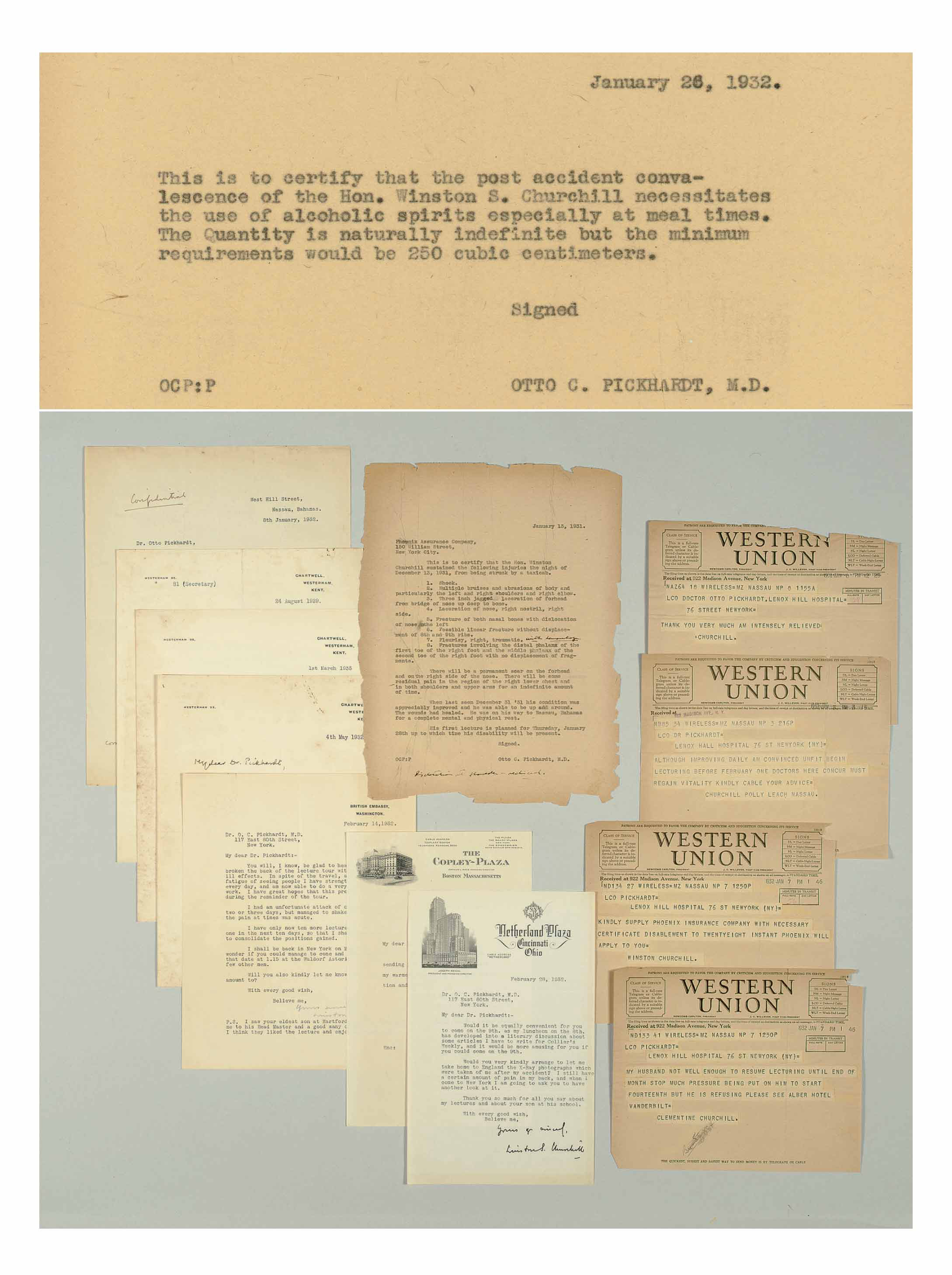 """CHURCHILL, Winston S. An archive of correspondence between Winston S. Churchill and Dr. Otto C. Pickhardt, the treating physician after Churchill's New York City traffic accident, December 1931 - April 1963. Comprising 7 typed letters signed (""""Winston S. Churchill"""") and one typed note, unsigned, on White House stationery; 9 printed telegrams from Churchill to Pickhardt; and some 50 carbons of Pickhardt's letters to Churchill. PLUS TWO X-RAYS OF CHURCHILL'S HEAD. Together 66 pages, 4to and 8vo; also with Pickhardt's 26-page scrapbook of several dozens of newspaper clippings relating to the accident and Churchill's subsequent career."""