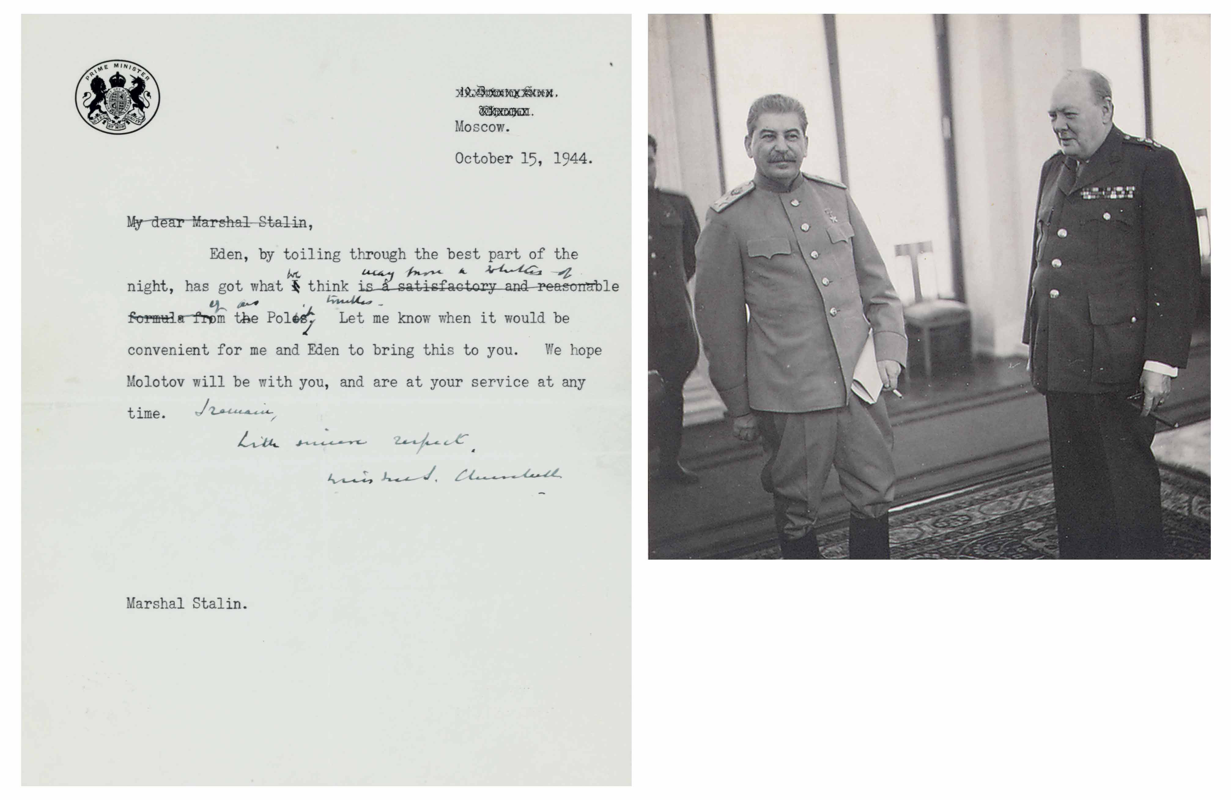 """CHURCHILL, Winston S. Typed draft latter signed (""""Winston S. Churchill"""") to Josef Stalin (1879-1953), Moscow, 15 October 1944. 1 page, 4to, on Prime Minister's stationery."""