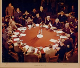 CHURCHILL, Winston S. and TRUMAN, Harry S. Large color photo
