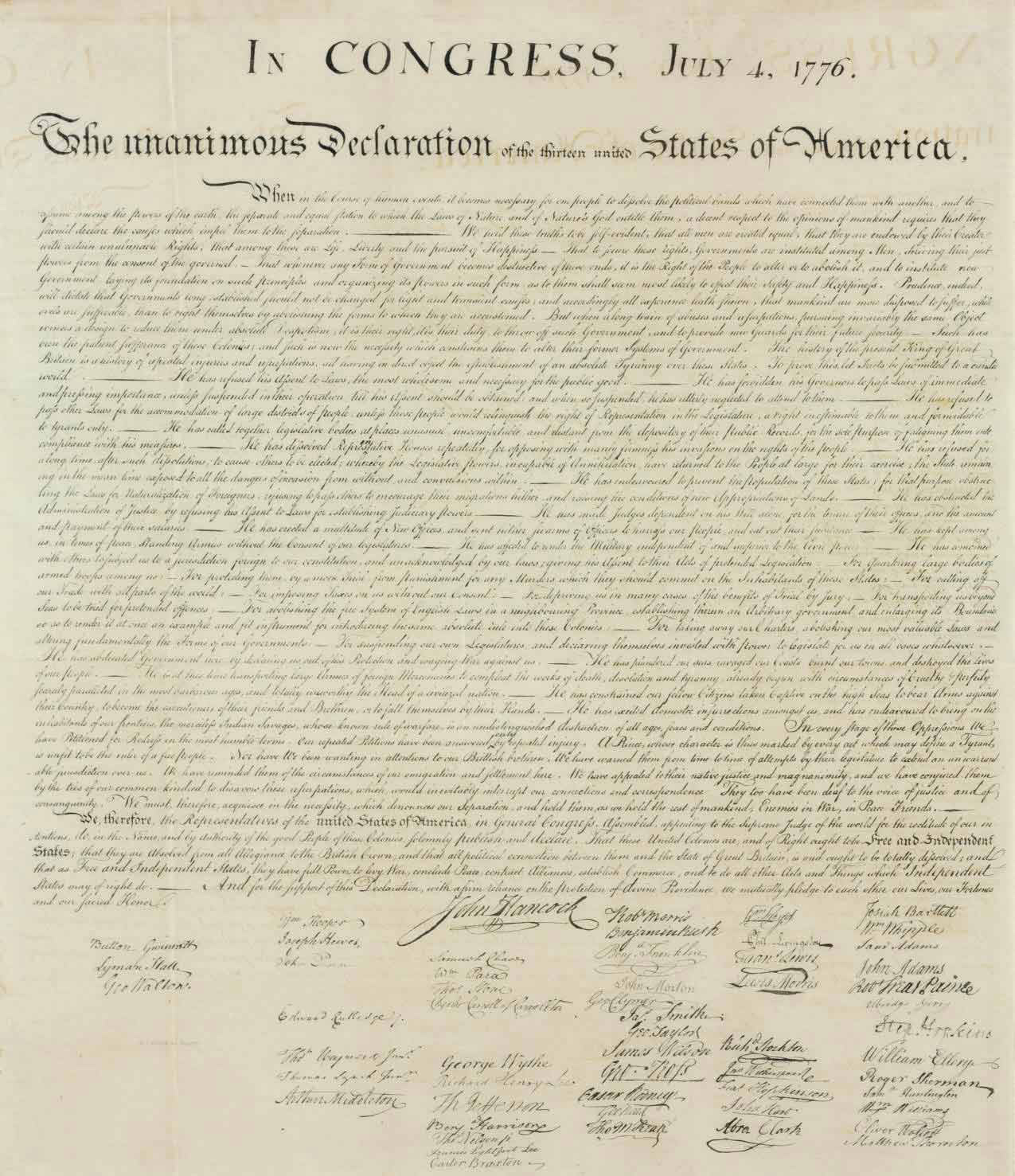 [DECLARATION OF INDEPENDENCE]. In Congress, July 4, 1776. The Unanimous Declaration of the Thirteen United States of America. When in the Course of Human Events... [Washington, D.C.,] engraved by W.J. Stone [1823-1825], reprinted 1833 from the same copperplate, for Peter Force's American Archives (1837-1853), [Traditionally misdated 1848, see below].
