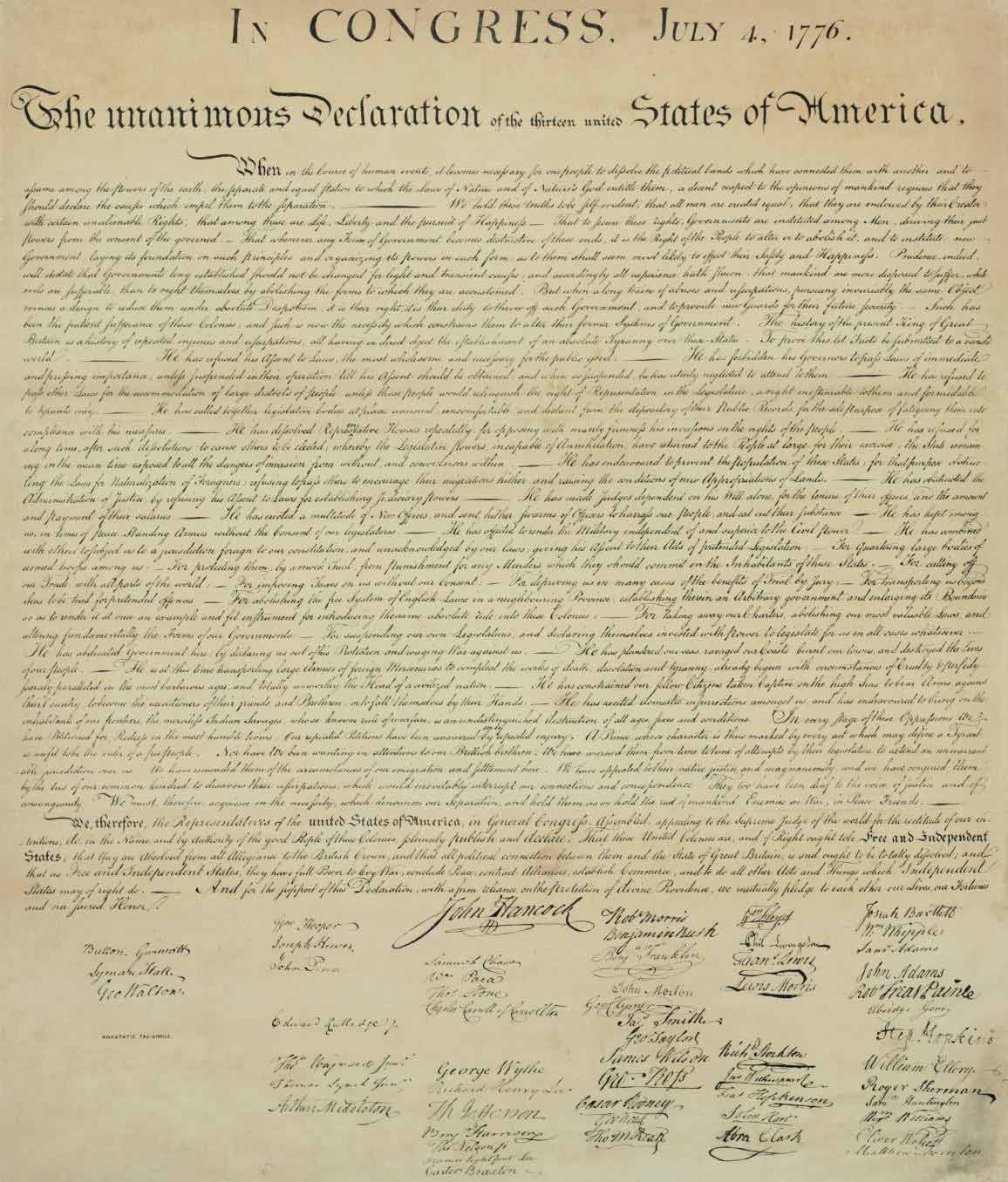 """[DECLARATION OF INDEPENDENCE]. In Congress, July 4, 1776. The Unanimous Declaration of the Thirteen United States of America. When in the Course of human events... No place, [Philadelphia: Robert P. Smith at the Anastatic Press, 144 Chestnut Street], n.d. [1846]. Imprint """"Anastatic fac-simile"""" in lower left."""