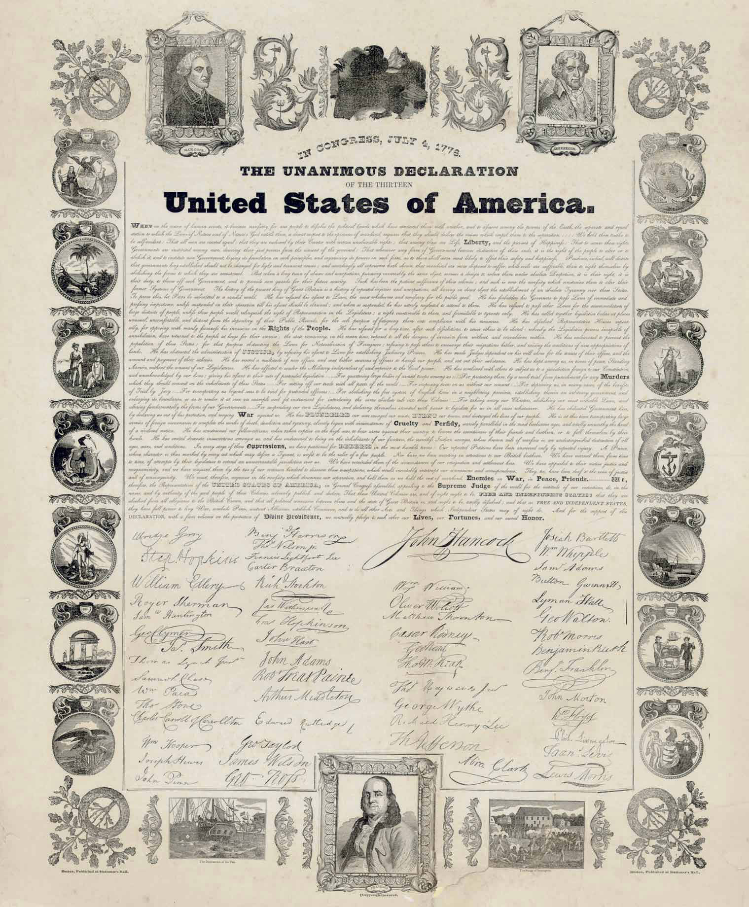 DECLARATION OF INDEPENDENCE. In Congress, July 4, 1776. The Unanimous Declaration of the Thirteen United States of America. When in the Course of Human Events...  Boston: Published at Stationer's Hall, n.d. [1840-1850].