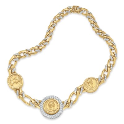 A DIAMOND AND GOLD NECKLACE, B