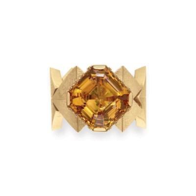 A CITRINE, DIAMOND AND GOLD BR