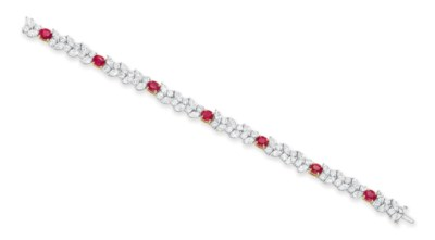 A DIAMOND AND RUBY BRACELET, B