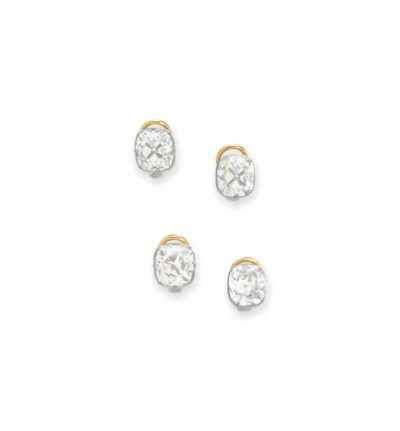 TWO PAIRS OF DIAMOND EAR CLIPS