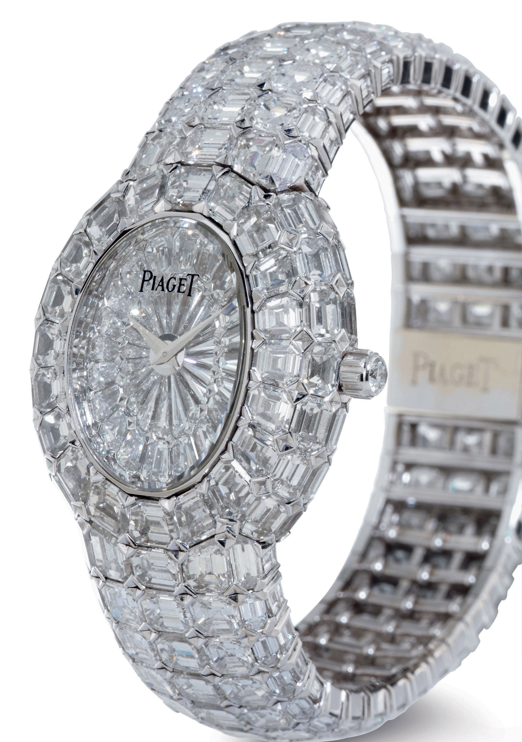 PIAGET.  AN EXTREMELY RARE AND SUPERLATIVE 18K WHITE GOLD AND DIAMOND WRISTWATCH WITH BRACELET