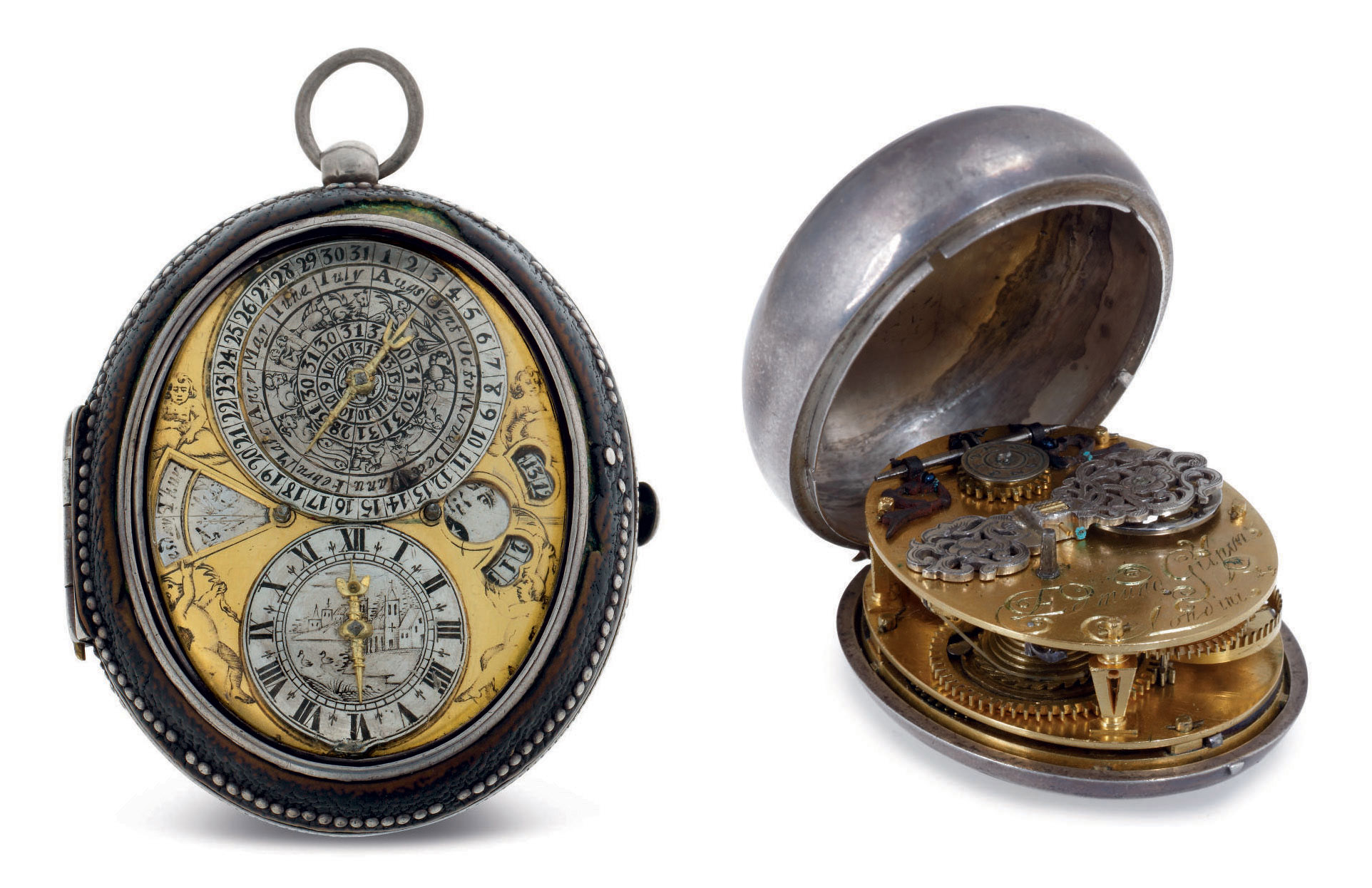 EDMUND GILPIN. A SILVER OVAL ASTRONOMICAL PRE-HAIRSPRING VERGE WATCH