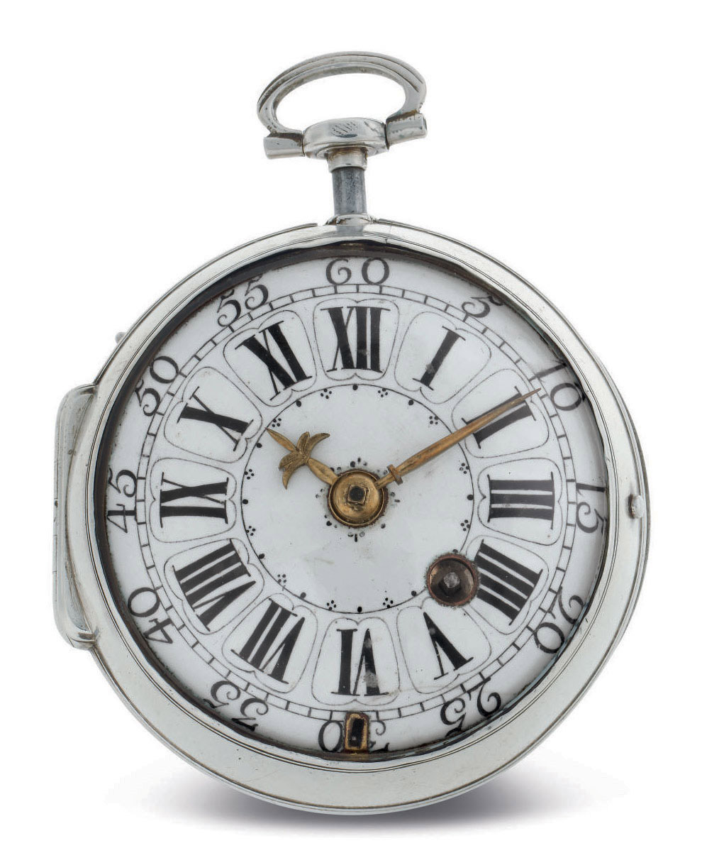 NICOLAS DUPRÉ. A SILVER OPENFACE QUARTER REPEATING VERGE POCKET WATCH