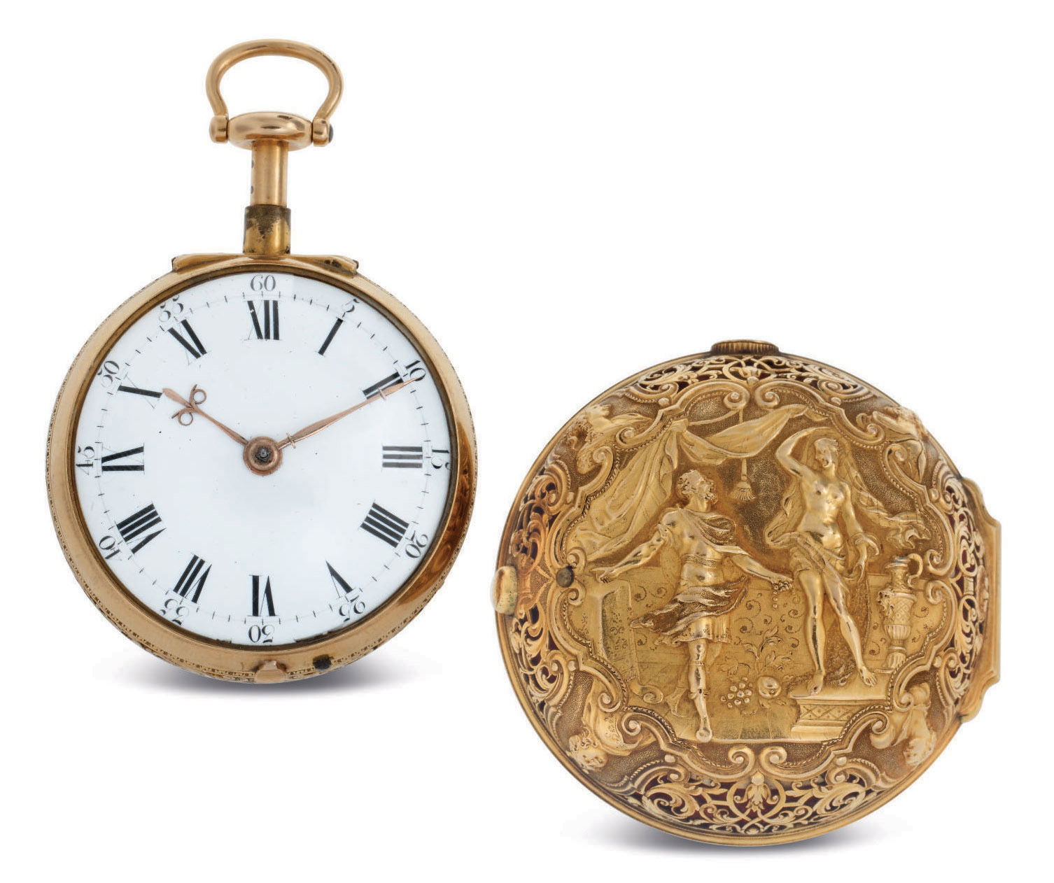 QUARE & HORSEMAN. A VERY FINE 18K GOLD REPOUSSÉE QUARTER REPEATING PAIR CASE VERGE WATCH